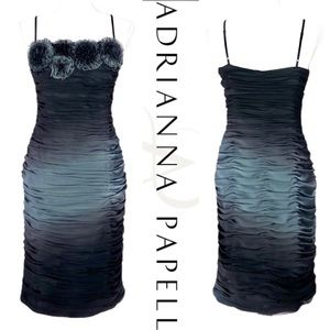Adrianna Papell Ruched Ombré Midi Dress